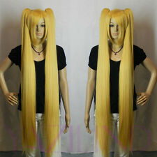 Yellow Long 2 Clip-On Ponytail Straight Cosplay Loli Synthetic Hair Full Wig