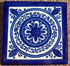 """10~Talavera Mexican 4"""" tile kiln fired hand painted Dolores Hidalgo Blue White"""