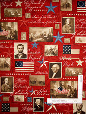 Patriotic US Presidents Cotton Fabric on Red Wilmington We The People ~ Yard