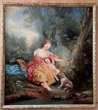 18th Century Oil Painting On Canvas Unsigned gilt Frame
