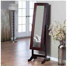 Jewelry Armoire Full Length Mirror Mirrored Tilting Box Wood Large Free Standing