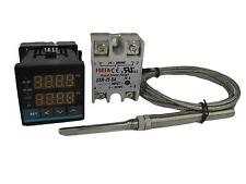 Digital PID Temp Controller w SSR and High Temp Probe (1250 ℃, 2 Alarms)