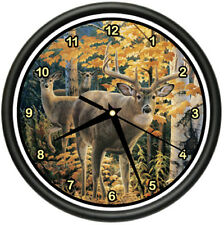 DEER Wall Clock whitetail white-tailed hunting lodge