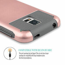 Rose Gold Hybrid Rubber Impact Hard Case Cover for Samsung Galaxy SV S5 i96