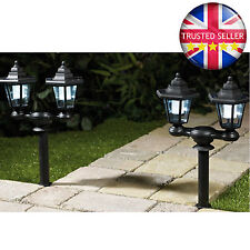 x2 SOLAR POWERED OUTDOOR LED POST LIGHTS GARDEN IDEAL FOR PATH OR PATIO LIGHTING