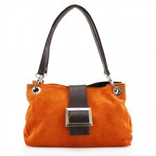 New Women Real Italian Suede Leather Buckle Shoulder Bag Ladies Hand Bag