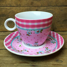 Porcelain Caprice Gingham Teacup/Expresso Cup with Saucer