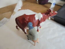 vintage hill & co britains etc lead cow with bell and milkmaid milk