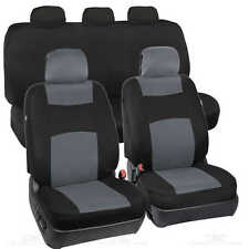 Gray / Black  Seat Cover Set for Car Auto SUV 9pc Polyester Cloth Solid Bench
