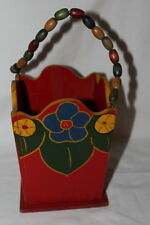 "ANTIQUE HAND PAINTED WOODEN BASKET W/ WOOD BEAD HANDLE 7 1/4"" X 5 1/2"" W/O HANDL"