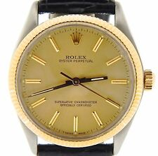 Mens Rolex 14K Yellow Gold/Stainless Steel Oyster Perpetual Black Champagne 1005