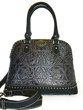 Trinity Ranch® Tooled Leather Dome Satchel w/ Strap-Black/Gray