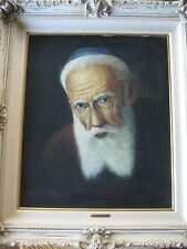Original Oil Painting On Canvas Rabbi Portrait w/Frame Signed By Victor Van Rijn