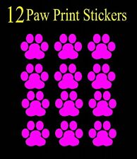 12 Hot Pink Paw Print Decals, Sticker, Car, Truck, Window, Wall Bumper, cat dog