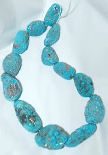CARVED CAMPITOS TURQUOISE WITH PYRITE FREEFORM NUGGET BEADS