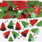 Green & Red embossed Christmas Trees Table Confetti Sprinkles Party Decorations
