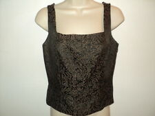 DD Collection Italy Size 2 Tank Top Brocade Black, Brown and Gold Acetate Blend