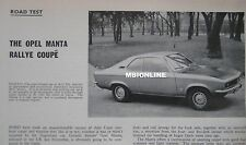 1971 Opel Manta Rally Coupe Original Motor Sport magazine Road test