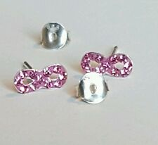 Children's Girls Infinity Crystal Stud Earrings, Rose, 925 Silver + Silk Pouch.