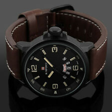Herren Analog Quarz Datum Sport Army Leather Armbanduhr Wasserdicht Uhren Neue