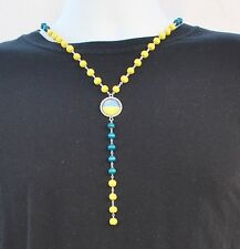 UKRAINE FLAG NECKLACE, Ukrainian Country Flag Colors Tag Necklace NEW