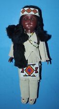 "Carlson Dolls Crow Chief Doll Leather Outfit with Beaded Apron 11"" Vintage USA"