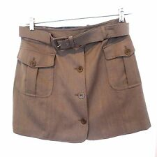 MOSCHINO CHEAP AND CHIC TAUPE  WOOL MINI CARGO SKIRT FRONT BUTTONS W/ BELT SZ 12
