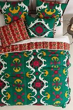 Anthropologie Dalian Embroidered Quilt QUEEN,  2 Euro Shams & 2 Standard Shams
