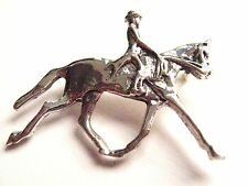 925 sterling Silver Horse and rider Dressage equestrian Hunting brooch stock pin