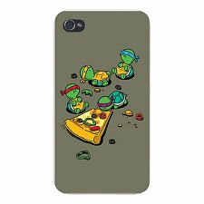 """Pizza Lover"" Turtle Cartoon Parody - FITS iPhone 4 4s Plastic Snap On Case"
