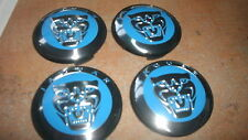 JAGUAR XJ XK S-TYPE R XKE WHEEL RIM CENTER CAPS W JAGUAR LOGO NEW SET OF 4 BLUE