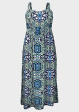 New-Blue, Green, White Print Summer Maxi Dress - Empire Line-Plus Size 16-18 UK