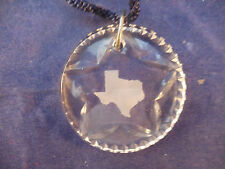 "2"" waterford pendant with lone star and frosted texas / also ornament with cord"