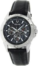 Bulova Men's Sport 96C113 Black Leather Quartz Watch