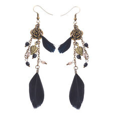 Vintage Bohemian Boho Bronze Flower Black Long Feather Women Dangle Earrings