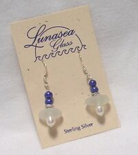 LUNASEA TREASURES SEAFOAM WHITE SEA GLASS COBALT & WHITE FW PEARL EARRINGS NEW