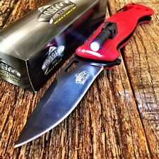RED SPRING ASSISTED OPENING RESCUE FOLDING KNIFE Pocket TACTICAL LED LIGHT