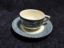 Currier Ives Royal China Blue and White Tea Cup Saucer Set - MINT!