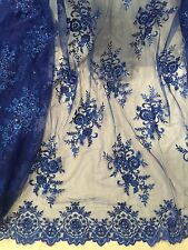 "ROYAL MESH W/EMBROIDERY  SEQUINS PEARL BEADS BRIDAL LACE FABRIC 50"" WIDE 1 YARD"