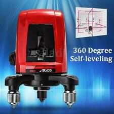 AK435 360 Degree Self-leveling Cross Laser Level Red 2 Line 1 Point Professional