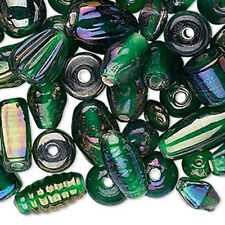 50g Bulk Handcrafted India Lampwork Glass Beads Mix Luster Dark Green