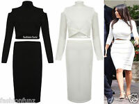 New Womens Ladie Celebs Inspired Cross Over Cut Out Crop Top 2 Piece Midi Skirt