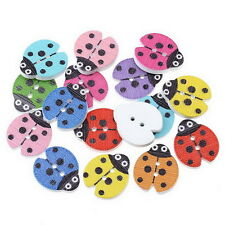 100PCs Mixed Wood Sewing Buttons Ladybird Pattern Scrapbooking 23mm