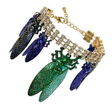 TOPSHOP LARGE BUG INSECT CHAARM ON CHAIN AND RHINESTONE BRACELET € 35 NEW