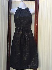 Vera Wang Silk Blend Cocktail Dress Metallic Sz 6 EUC