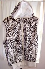 Animal Print Sleeveless Hoodie Fuzzy Soft Women's Large by Karizma