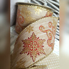 Wired Christmas Ribbon With Red, Gold Swirls & Snowflakes Hessian CakeTree Xmas
