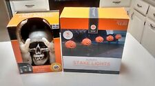 Pumpkin Stake Pathway Markers 5pk & Lighted Lawn Skeleton Halloween Decorations