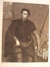 RITRATTO DI CAVALIERE, BORDONE,ENGRAVING,INCISIONE,STAMPA ANTICA