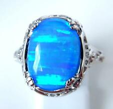 "Splendido Anello Blu Opale di Fuoco UK ""N"" US 7"